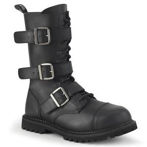 Vegan læder RIOT-12BK støvler med stål tå-kappe - demonia militærstøvler