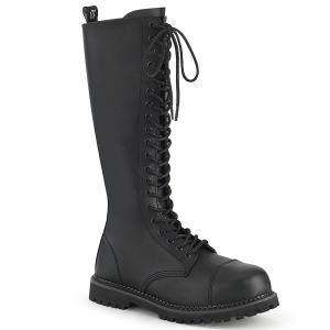 Vegan leather RIOT-20 demonia boots - unisex steel toe combat boots