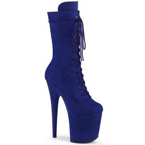 Vegan suede 20 cm FLAMINGO-1050FS højhælede støvler - pole dance støvler i blå