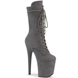 Vegan suede 20 cm FLAMINGO-1050FS højhælede støvler - pole dance støvler i grå