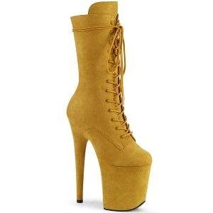Vegan suede 20 cm FLAMINGO-1050FS højhælede støvler - pole dance støvler i gul