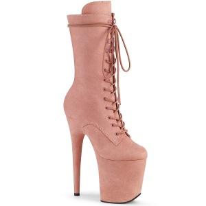 Vegan suede 20 cm FLAMINGO-1050FS højhælede støvler - pole dance støvler i rosa