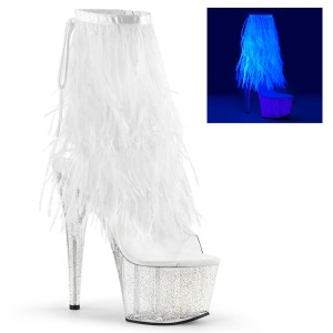 White 18 cm ADORE-1017MFF platform ankle boots marabou feathers