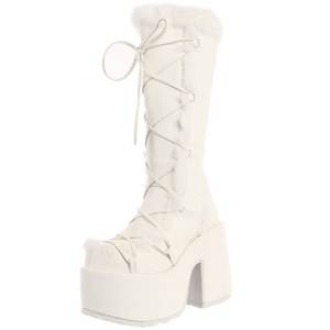 White Fur 13 cm CAMEL-311 Platform Knee High Goth Boots