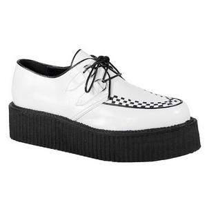White Leatherette V-CREEPER-502 Platform Mens Creepers Shoes