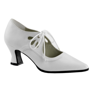 White Matte 7 cm retro vintage VICTORIAN-03 Pumps with low heels