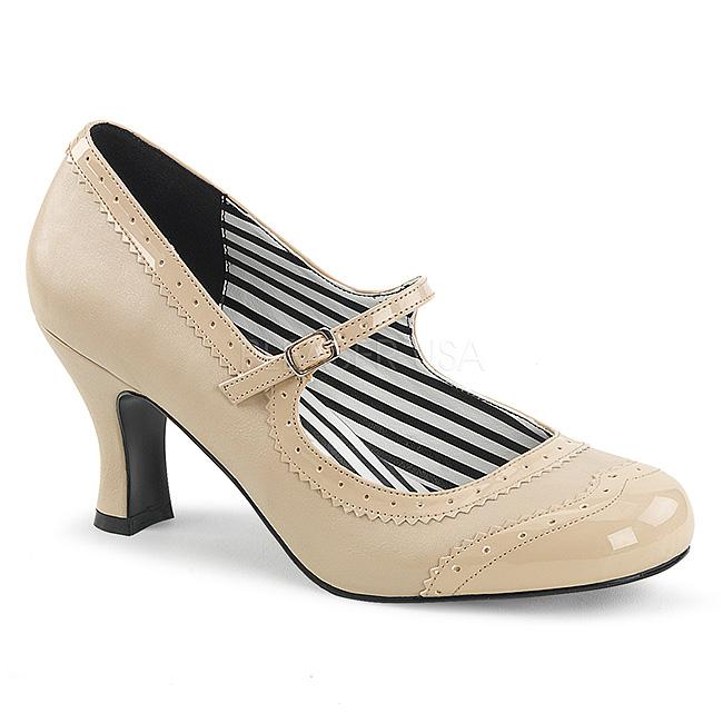Beige Kunstlæder 7,5 cm JENNA 06 store størrelser pumps sko