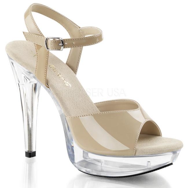 f67f0c07684 Beige Shiny 13 cm COCKTAIL-509 Acrylic Platform High Heeled Sandal - online  shop på nettet