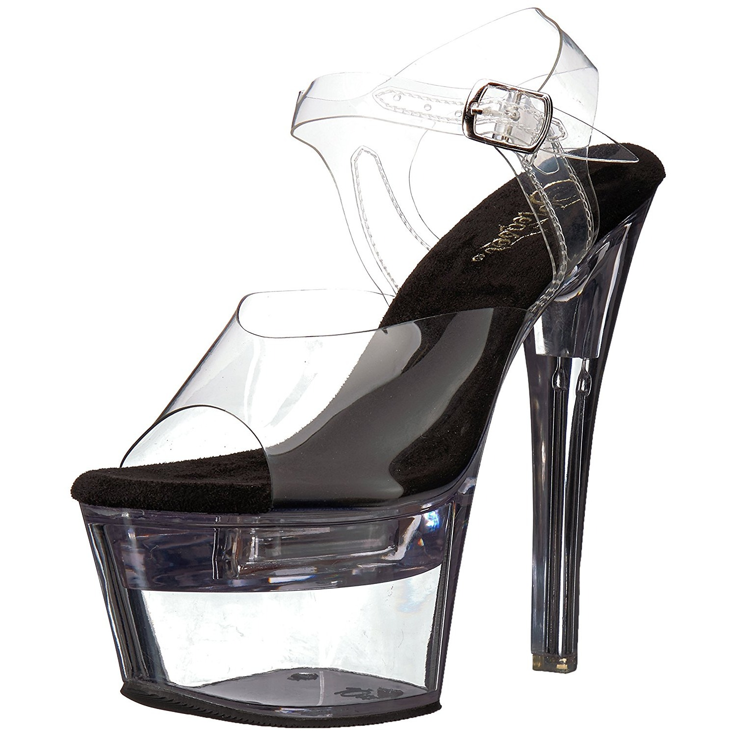 Black 18 cm FLASHDANCE 708 LED light platform stripper high heel shoes