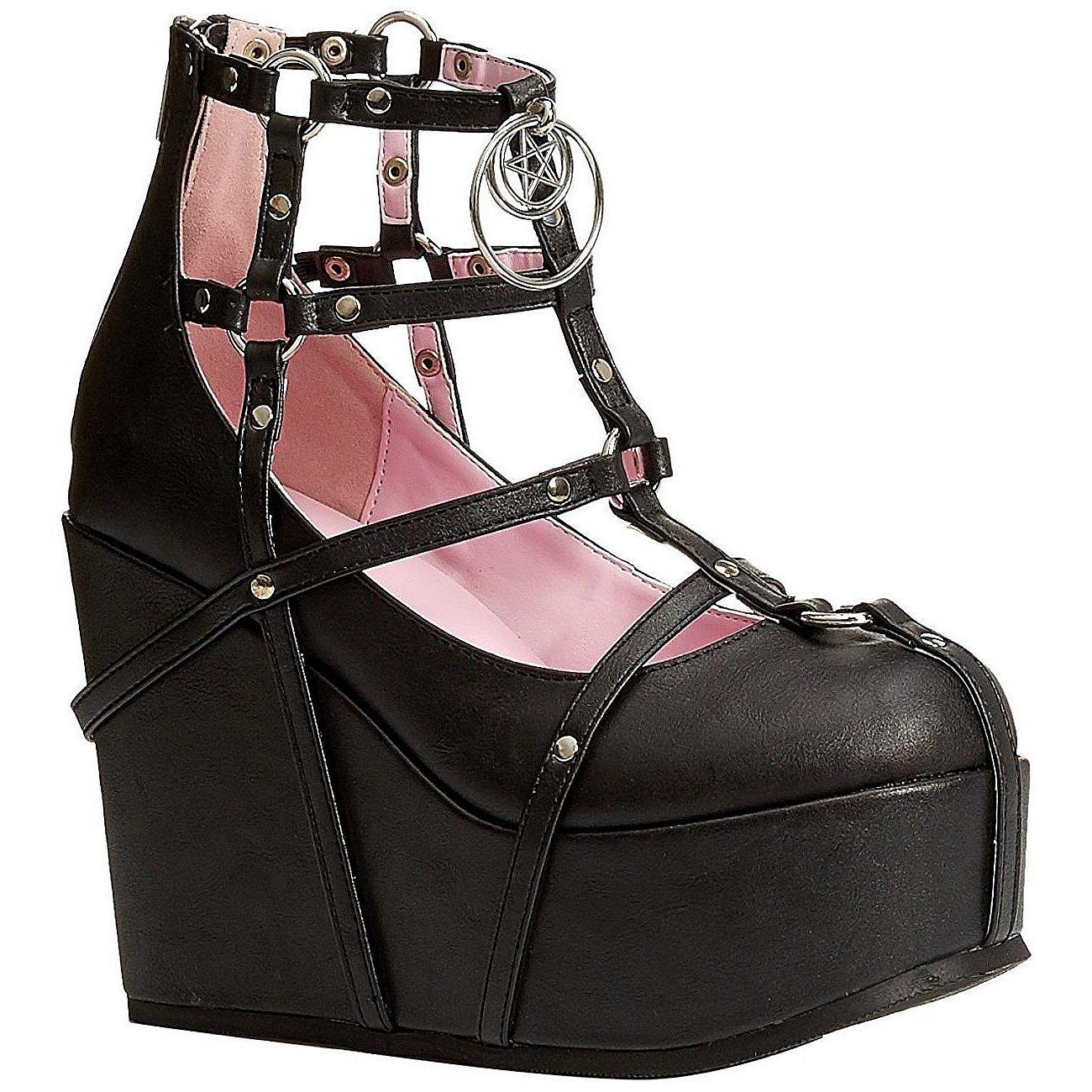 e46d596bbeb Black Leatherette 13 cm POISON-25-1 lolita ankle boots wedge platform