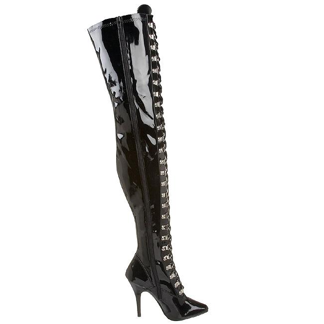 250808187ed15a Black Shiny 13 cm SEDUCE-3024 High Heeled Overknee Boots