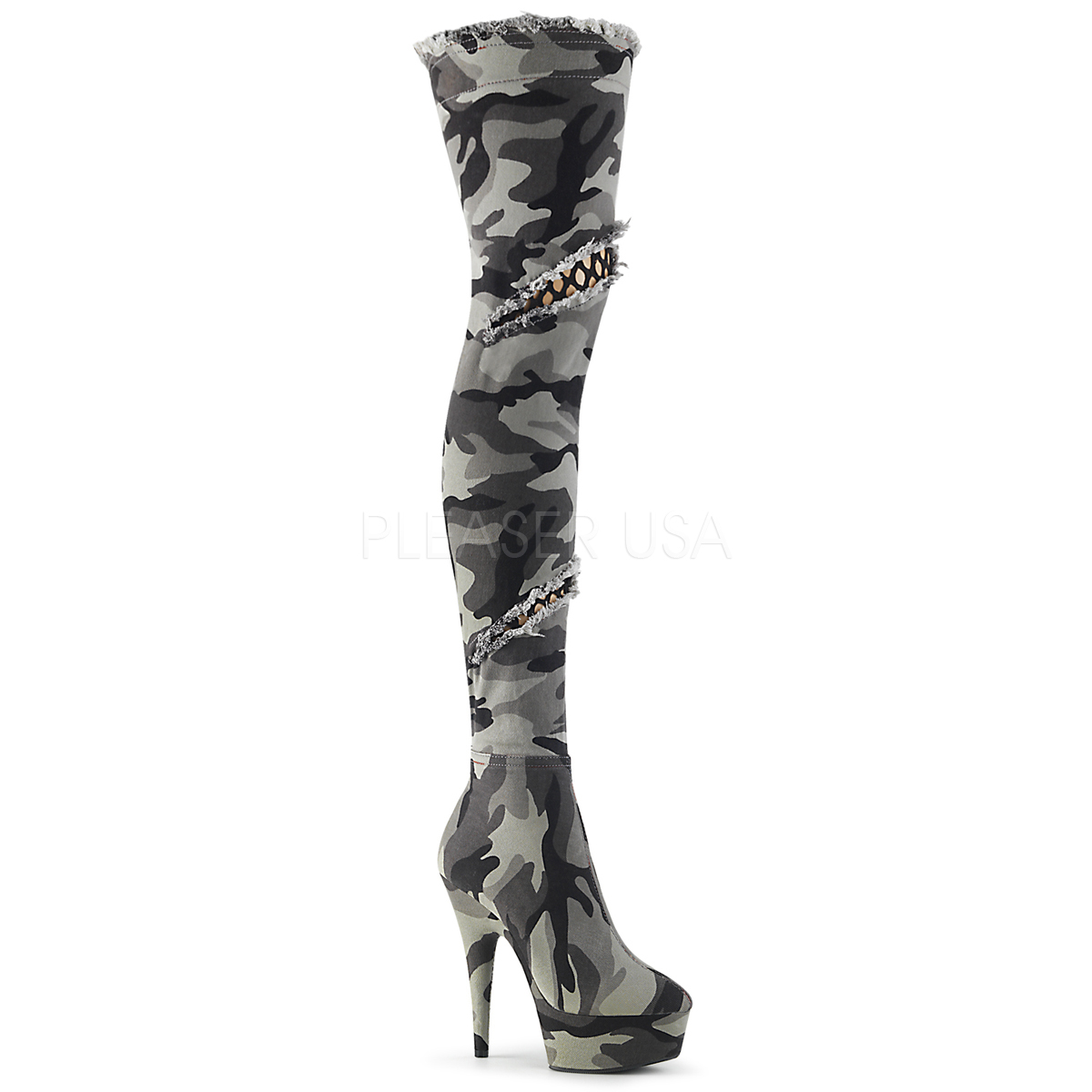cm Overknee 3005 støvler DELIGHT canvas 15 med Camoflash høj hæl tBosdQrCxh