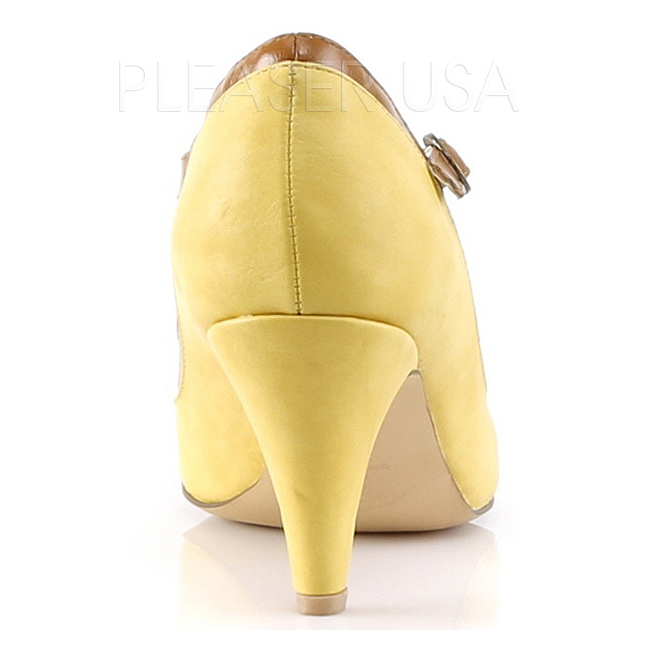 e87efd0f3052 Gul 8 cm PEACH-03 Pinup pumps sko med lave hæle