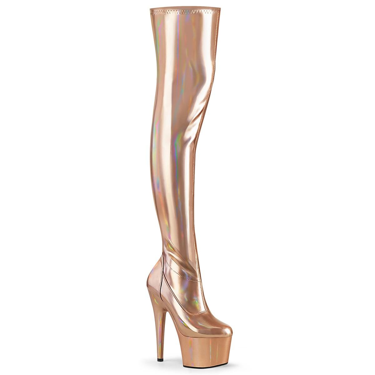 Guld 18 cm ADORE 3000HWR Hologram overknee støvler pole dance overknees