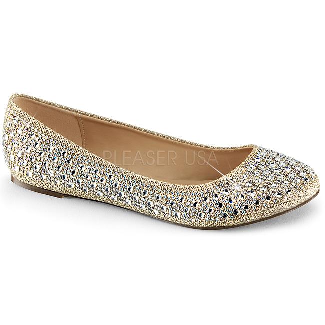 fe2091bcc06 Guld TREAT-06 krystal sten ballerina sko med flade hæle