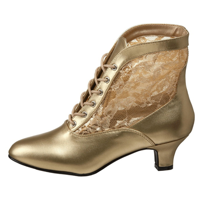 374e366e37bf Guld blonder stof 5 cm DAME-05 Dame Ankel Støvler med Snørebånd
