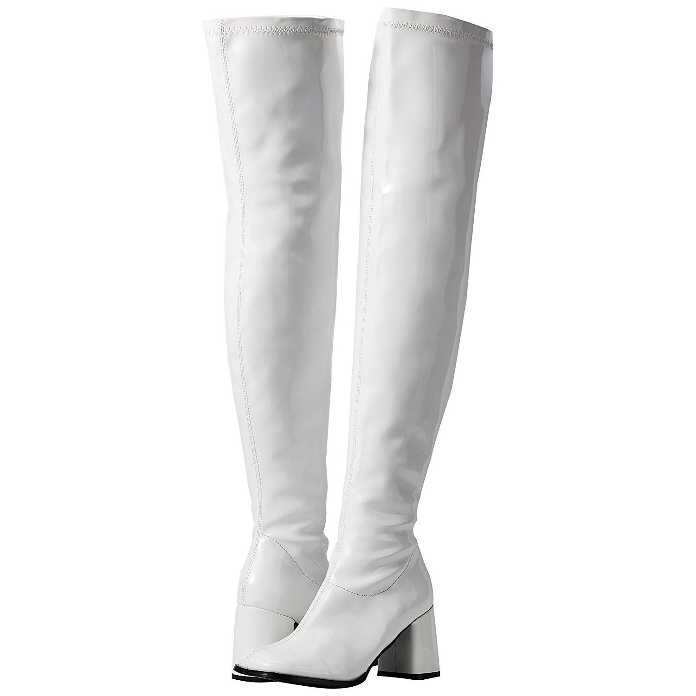 342445b4e10 Hvid Lakeret GOGO3000/W PLEASER store størrelser Lårlange Overknee ...