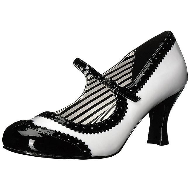 Hvid Laklæder 7,5 cm JENNA 06 store størrelser pumps sko