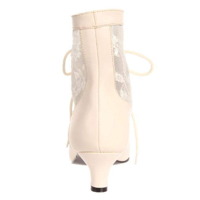 408b8fc19425 Hvid blonder stof 5 cm DAME-05 Dame Ankel Støvler med Snørebånd
