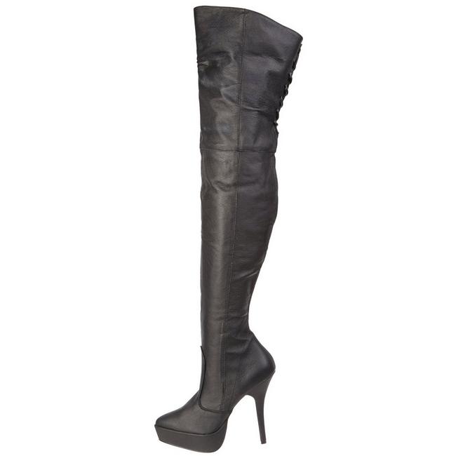 lårlange støvler læder lårlange stiletstøvler