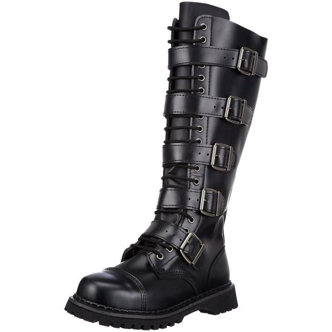 Læder RIOT 18BK Punk Støvler til Mænd Gothic Støvler