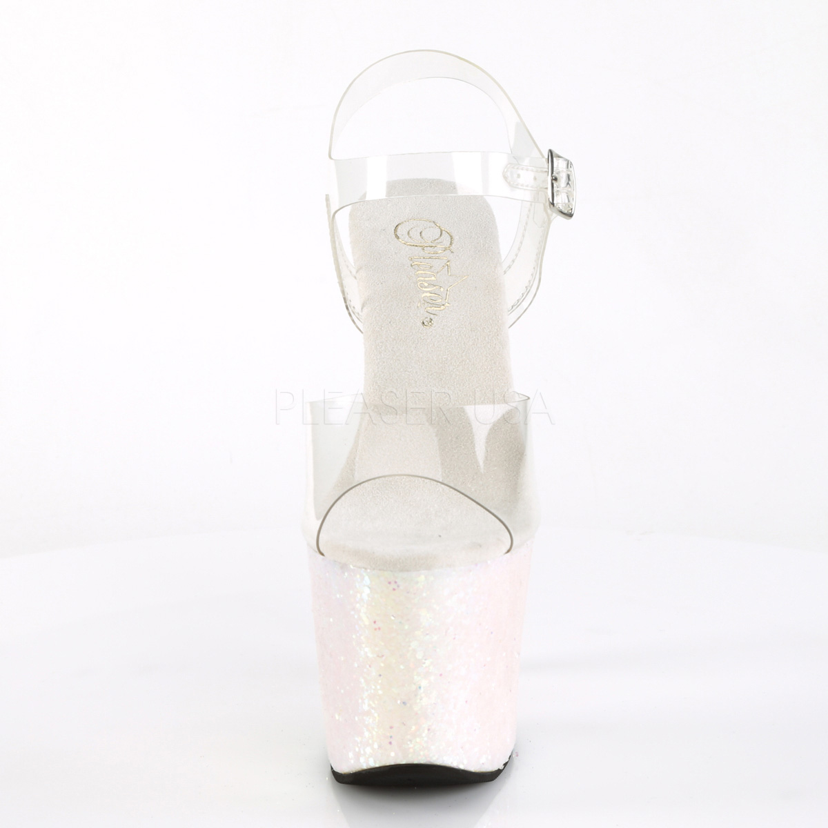 Sølv 18 cm RADIANT 708LG glitter plateau high heels sko
