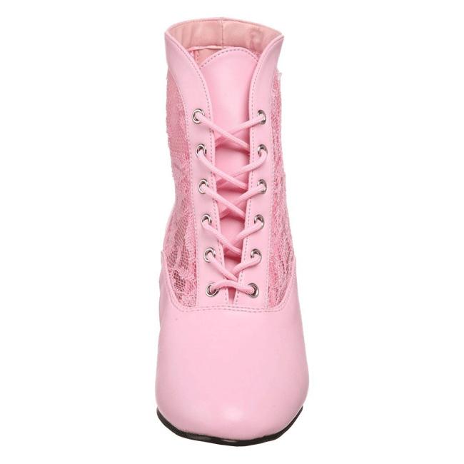5bc9e0ec1b5e Pink blonder stof 5 cm DAME-05 Dame Ankel Støvler med Snørebånd