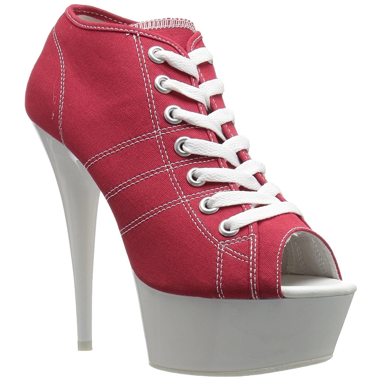 Red Neon 15 cm DELIGHT 600SK 01 Canvas high heels chucks
