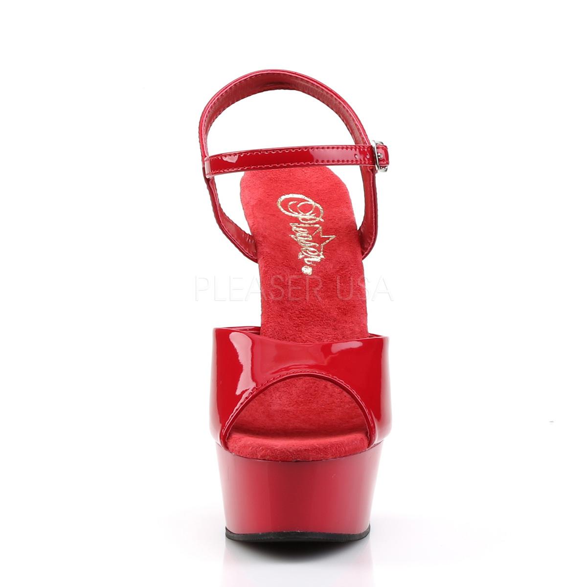 Rød krom plateau 15 cm DELIGHT 609 pleaser høje hæle