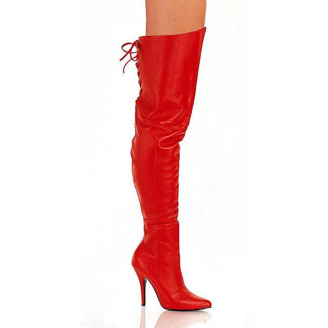 7f724405c6b7 Rød læder LEG8899 R LE PLEASER store størrelser Lårlange Overknee ...