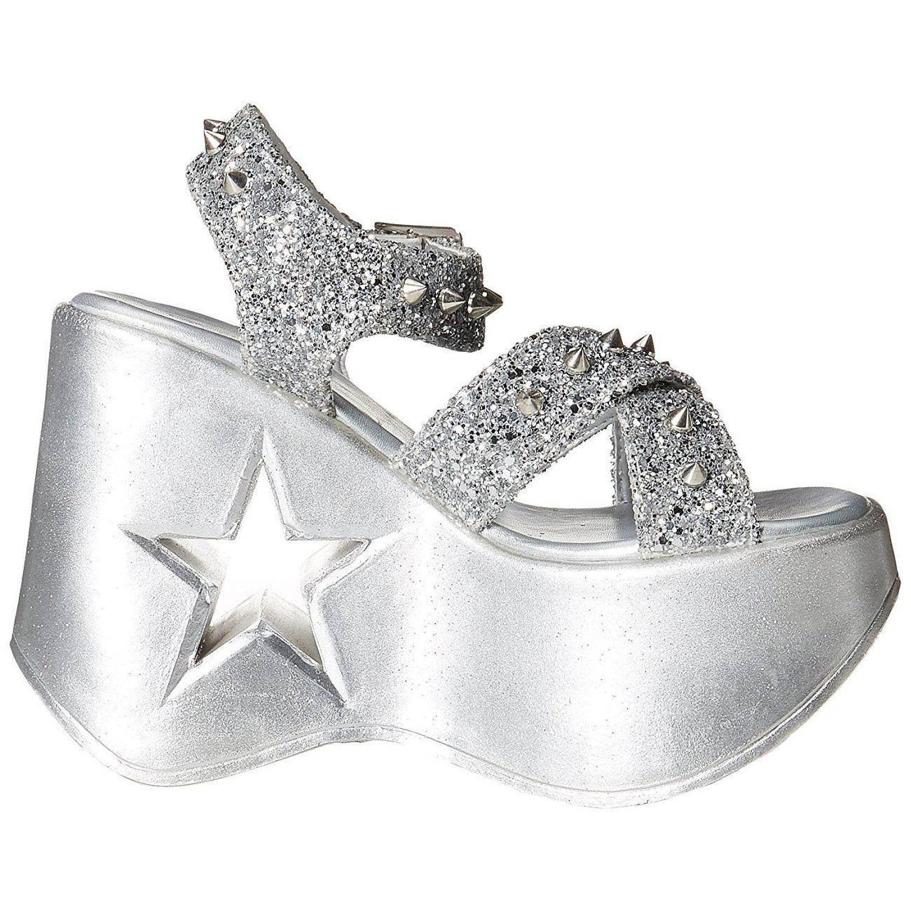 2435fa2cd18 Silver 13 cm Demonia DYNAMITE-02 lolita sandals wedge sandals