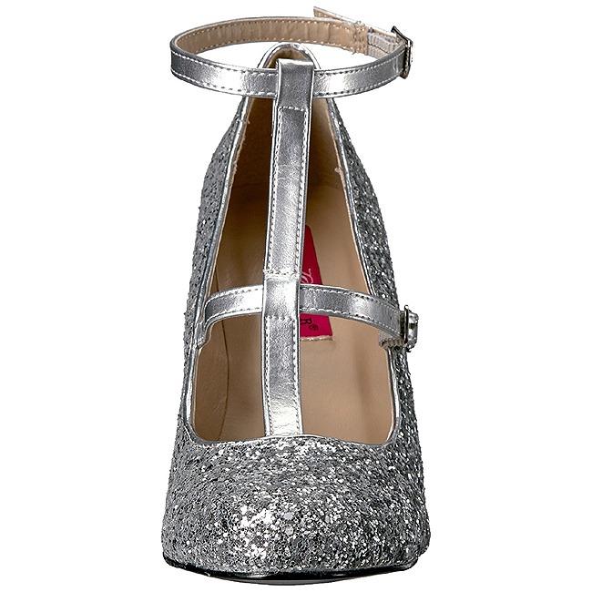 8c6b696f Sølv Glimmer 10 cm QUEEN-01 store størrelser pumps sko