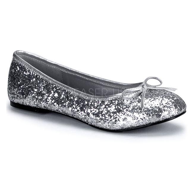 1b71403a06a2 Sølv STAR-16G glitter ballerina sko med flade hæle