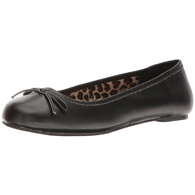 Sort Kunstlæder ANNA 01 store størrelser ballerina sko