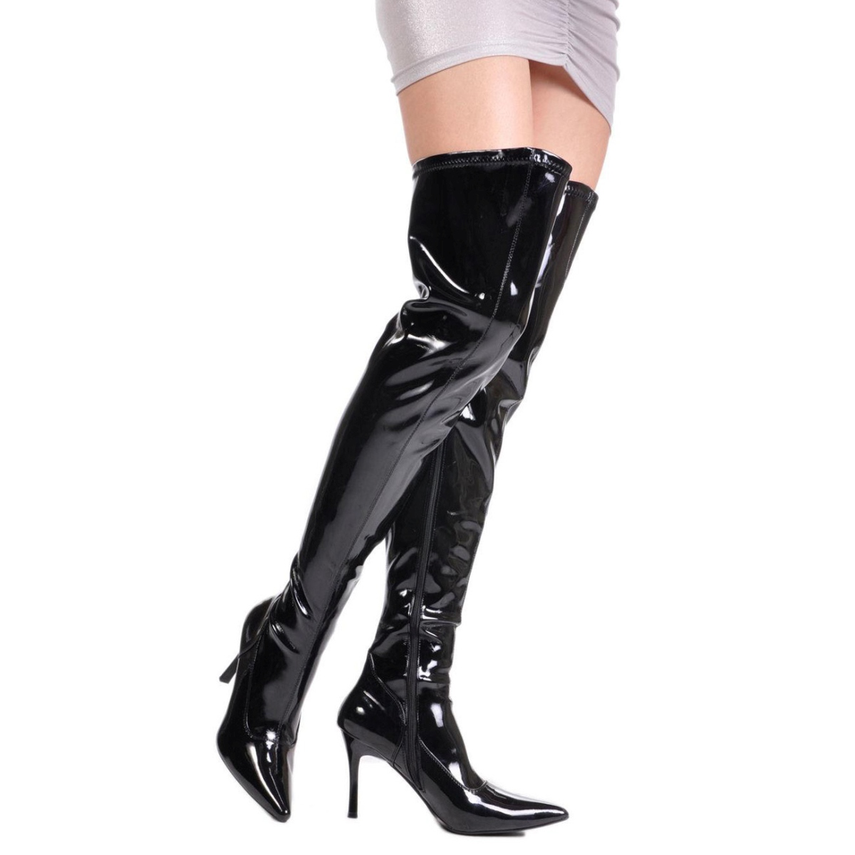 lårlange støvler lak og latex