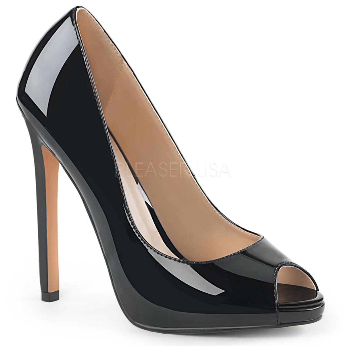 2d54d60d Sort Laklæder 13 cm SEXY-42 klassisk pumps sko til damer