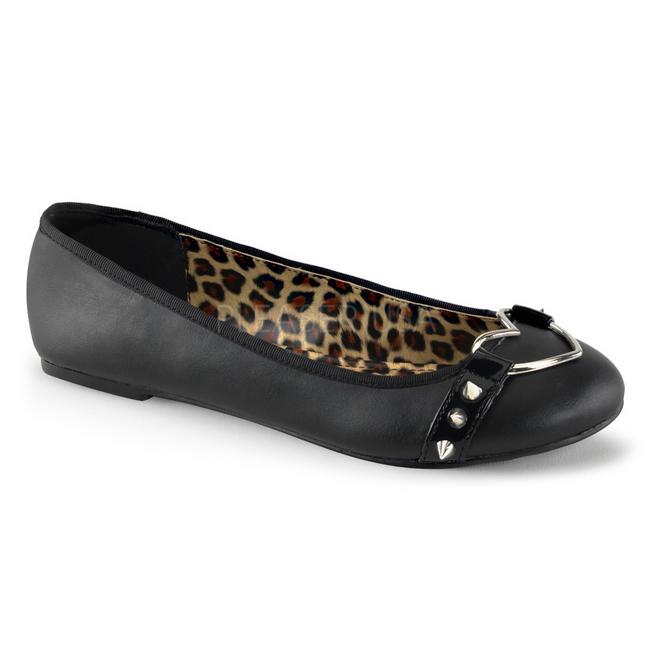 e69e40f3ecb Sort Mat STAR-21 gothic ballerina sko med flade hæle