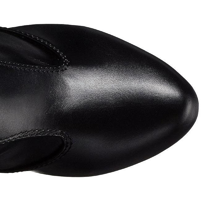 Sort kunstlæder 12,5 cm EVE 312 lårlange støvler til brede lægge
