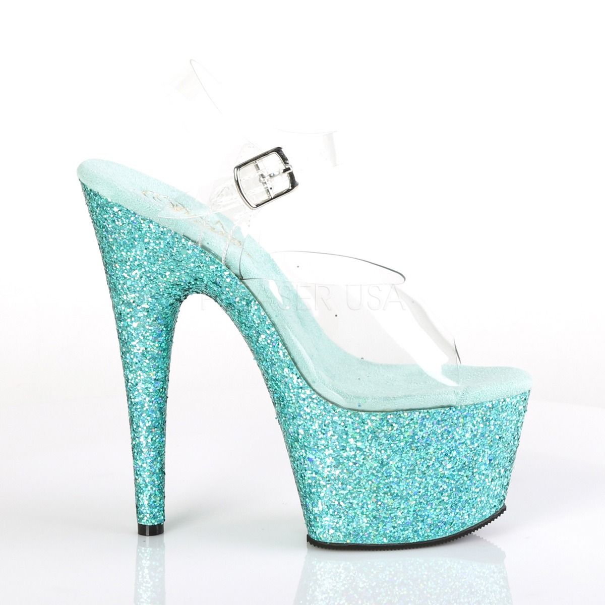 8a06db84d0b5 Turquoise glitter 18 cm Pleaser ADORE-708LG Pole dancing high heels shoes
