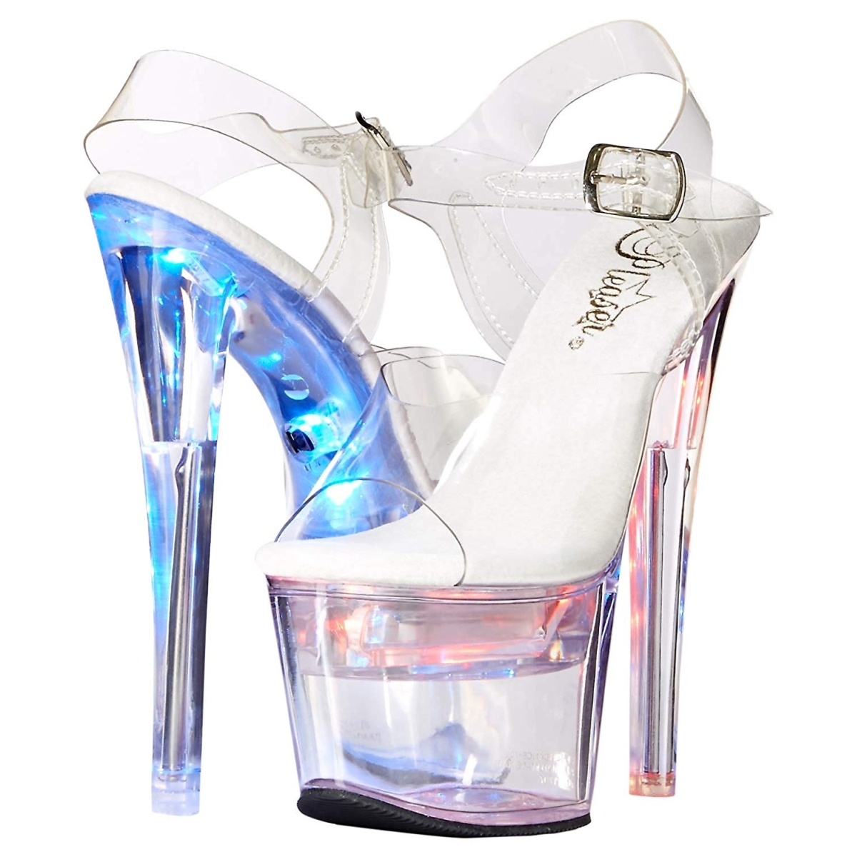 White 18 cm FLASHDANCE 708 LED light platform stripper high heel shoes