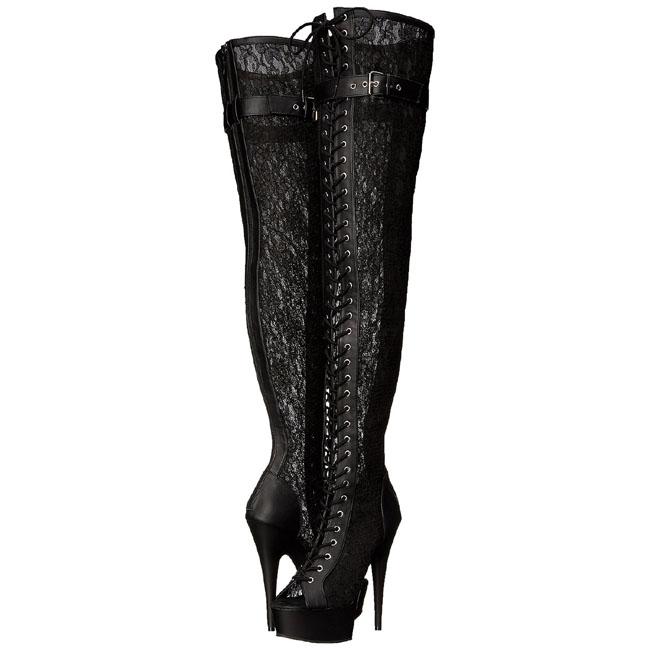 blonder stof 15 cm DELIGHT 3025ML lårlange støvler med plateausål