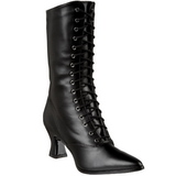 Black 7 cm VICTORIAN-120 Lace Up Ankle Calf Women Boots