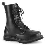 Ægte læder RIOT-10 ankelstøvler med stål tå-kappe - demonia militærstøvler