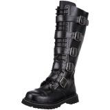 Ægte læder RIOT-18BK støvler med stål tå-kappe - demonia militærstøvler