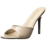 Beige 10 cm CLASSIQUE-01 dame mules med høje hæl