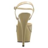 Beige 15 cm DELIGHT-609 pleaser høje hæle med plateau