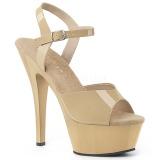 Beige 15 cm Pleaser KISS-209 højhælede sandaler til kvinder