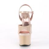 Beige 18 cm SKY-309TT pleaser sandaler med guld såler