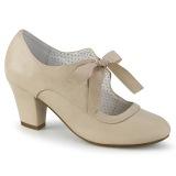 Beige 6,5 cm WIGGLE-32 retro vintage cuben heels maryjane pumps