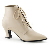 Beige 7 cm VICTORIAN-35 Dame Ankel Støvler med Snørebånd